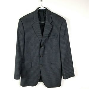 Chaps mens suit size 41R  100% wool dark gray